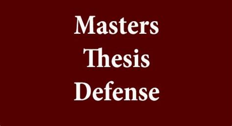 Components of a thesis defense